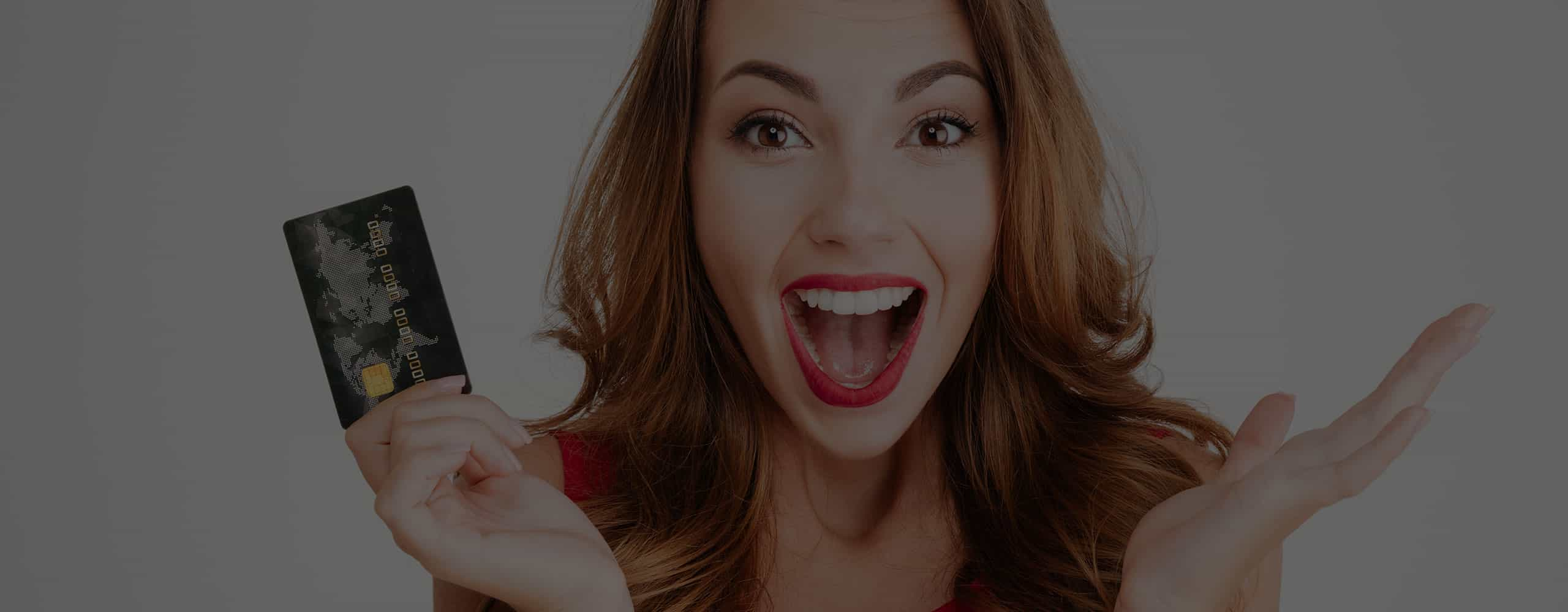 Excited Woman holding gift card