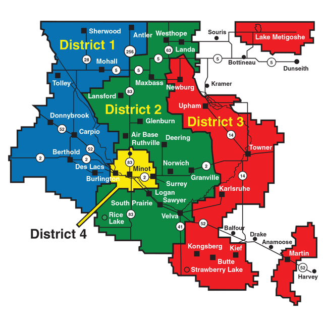 Image of the director districts with towns with districts hightlighted by different colors